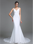 cheap Wedding Dresses-Mermaid / Trumpet V Neck Court Train Chiffon Made-To-Measure Wedding Dresses with Appliques by LAN TING BRIDE®