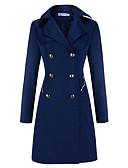 cheap Women's Coats & Trench Coats-Women's Daily Long Trench Coat, Solid Colored Notch Lapel Long Sleeve Black / Beige / Navy Blue XL / XXL / XXXL