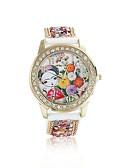 cheap Quartz Watches-Women's Quartz Wrist Watch / Imitation Diamond Leather Band Flower Fashion Red