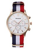 baratos Relógio Elegante-Homens Relógio de Pulso Venda imperdível / / Tecido Banda Casual / Fashion Branco / Azul / Vermelho / Aço Inoxidável / Um ano / KC 377A