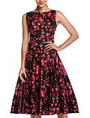 voordelige Damesjurken-Dames Vintage / Street chic Katoen Wijd uitlopend Jurk - Bloemen, Geplooid Tot de knie Hoge taille