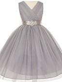 hesapli Çiçekçi Kız Elbiseleri-Balo Abiyesi V Yaka Diz Altı Tül Kristal Detaylar ile Çiçekçi Kız Elbisesi tarafından LAN TING Express