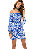 ieftine Bluză-Pentru femei Mărime Plus Size Plajă Boho Sleeve Flare Shift Rochie - Imprimeu, Geometric Bateau Sub Genunchi Albastru