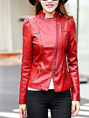 cheap Women's Nightwear-Women's Street chic Leather Jacket-Solid Colored