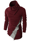 cheap Women's Coats & Trench Coats-Men's Daily Color Block Long Sleeve Regular Pullover, Turtleneck Spring / Fall Black / Wine L / XL / XXL