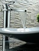 preiswerte Damen Leggings-Moderne Art déco/Retro Mittellage Wasserfall Verbreitete Keramisches Ventil Einhand Ein Loch Chrom, Waschbecken Wasserhahn