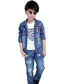 baratos Calças para Meninos-Para Meninos Jeans Conjunto Diário Primavera Outono Algodão Manga Longa Desenho Azul