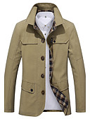 cheap Men's Jackets & Coats-Men's Work Simple Casual Street chic Boho Plus Size Cotton Trench Coat-Solid Colored,Print Shirt Collar