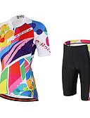 billige Løbetøj-Miloto Dame Kortærmet Cykeltrøje og shorts - Lys pink Cykel Shorts Tights Med Seler Trøje, Hurtigtørrende, Åndbart, Svedreducerende,