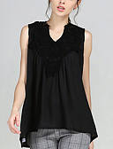 cheap Women's Dresses-Women's Street chic Plus Size Blouse - Solid Colored V Neck / Summer