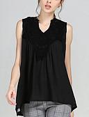 billige T-shirt-V-hals Dame - Ensfarvet Gade Plusstørrelser Bluse / Sommer