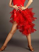 رخيصةأون التزلج على الجليد-الرقص اللاتيني تنورات قصيرة وتنورة للمرأة أداء فسكوزي ثنيات بدون كم ارتفاع متوسط الالتفاف