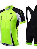 hesapli Mini Elbiseler-Fastcute Erkek Kısa Kollu Askılı Şortlu Bisiklet Forması Yeşil Mavi Açık Yeşil Bisiklet Giysi Takımları Nefes Alabilir Hızlı Kuruma Spor Dalları Coolmax® Likra Dağ Bisikletçiliği Yol Bisikletçiliği