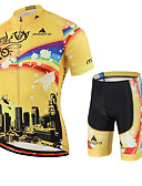 cheap Men's Shirts-Miloto Men's Short Sleeve Cycling Jersey with Shorts - Yellow Rainbow Bike Shorts Jersey Clothing Suit Breathable Quick Dry Sweat-wicking Sports Polyester Lycra Rainbow Mountain Bike MTB Road Bike