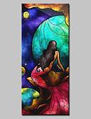 billige Cocktailkjoler-Hang-Painted Oliemaleri Hånd malede - Popkunst Moderne Med Ramme / Stretched Canvas