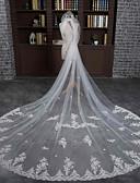baratos Véus de Noiva-Uma Camada Borda com aplicação de Renda Véus de Noiva Véu Capela Com Renda / Tule / Clássico