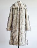 economico Completi-Per uomo Taglie forti / Fine settimana Inverno Lungo Cappotto, Monocolore Manica lunga Pelliccia sintetica Bianco XL / XXL / XXXL / Taglia piccola