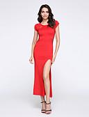 preiswerte Damen Kleider-Damen Übergrössen Bodycon Spitze Kleid - Gespleisst, Solide Maxi Rot