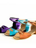 abordables Ropa de Calle de Mujer-Zapatos de Baile Latino Satén Tacones Alto Hebilla Tacón Cubano No Personalizables Zapatos de baile Morado / Marrón / Azul Claro / Interior / Cuero