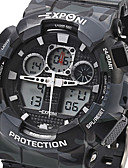 cheap Sport Watches-EXPONI Men's Sport Watch / Military Watch / Wrist Watch Alarm / Calendar / date / day / Chronograph Silicone Band Luxury / Casual / Camouflage Black / White / Blue / Water Resistant / Water Proof