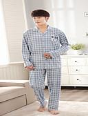cheap Men's Underwear & Socks-Men's Round Neck Suits Pajamas - Print, Plaid