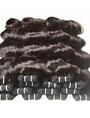halpa Vyöt-Brasilialainen Runsaat laineet Käsittelemätön / Virgin-hius / Remy-hius Hiukset kutoo 6 pakettia 8-24 inch Hiukset kutoo Naisten / Tummille naisille / 7a Musta Hiukset Extensions Naisten