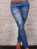 billige Leggings-Dame Bomuld Denim Ensfarvet Legging - Ensfarvet