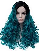 billige Maxikjoler-Syntetiske parykker Stil Lokkløs Parykk Blå Syntetisk hår Dame Blå Parykk Medium Lengde capless parykker