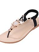 preiswerte T-Shirt-Damen Schuhe PU Sommer Komfort Sandalen Flacher Absatz Kristall / Elastisch Schwarz / Beige / Blau