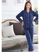 baratos Camisolas e Pijamas Femininos-Mulheres Decote V Pijamas - Estampado, Poá