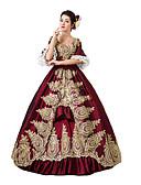 billige Antrekk til ballroom-dans-Victoriansk Rokoko Kostume Dame Kjoler Maskerade Party-kostyme Rød Vintage Cosplay Blonde Bomull Gulvlang Lang Lengde