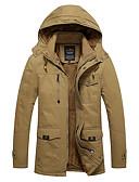 povoljno Muške jakne i kaputi-Muškarci Dug Pamuk Padded - Jednobojni S kapuljačom