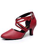 preiswerte Hochzeitskleider-Damen Schuhe für den lateinamerikanischen Tanz Leder Sandalen Schnalle Niedriger Heel Maßfertigung Tanzschuhe Schwarz / Rot / Innen / Leistung / Praxis / Professionell