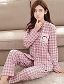 זול חלוקים & Sleepwear-בגדי ריקוד נשים צווארון חולצה חליפות גוזיה מותאמת פיג'מות - דפוס, משובץ דמקה