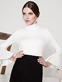 billige Damekjoler-Kjegle Erme Rullekrage T-skjorte Dame - Ensfarget, Drapering Vintage Ut på byen