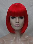 halpa T-paita-Synteettiset peruukit / Pilailuperuukit Suora Bob-leikkaus / Lyhyt Bob Synteettiset hiukset Punainen Peruukki Naisten Suojuksettomat