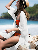 رخيصةأون ملابس السباحة والبيكيني 2017 للنساء-تغطية الجسم نسائي لون نقي - لون سادة صلب قبة مرتفعة حول الرقبة