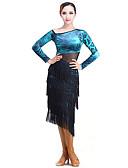hesapli Göbek Dansı Giysileri-Latin Dansı Elbiseler Performans Tül / Kadife Püsküllü Uzun Kollu Elbise