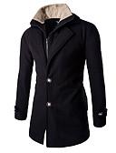 baratos Suéteres & Cardigans Masculinos-Homens Longo Casaco Casual Trabalho Inverno Primavera Outono, Sólido Algodão Poliéster