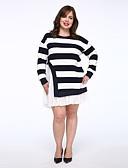 お買い得  レディースドレス-女性用 ルーズ ドレス ストライプ 膝上