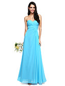 cheap Bridesmaid Dresses-A-Line Sweetheart Floor Length Chiffon Bridesmaid Dress with Ruched Criss Cross by LAN TING BRIDE®