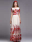 cheap Women's Dresses-By Megyn Women's Chinoiserie A Line Dress - Embroidered Maxi