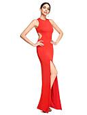 preiswerte Brautjungfernkleider-Eng anliegend Schmuck Boden-Länge Jersey Ausgeschnitten Formeller Abend Kleid mit Vorne geschlitzt durch TS Couture®