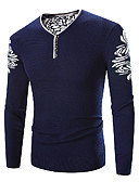 cheap Men's Sweaters & Cardigans-Men's Long Sleeve Pullover - Print V Neck