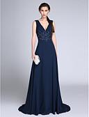 رخيصةأون فساتين حفلات-A-الخط رقبة V ذيل مثل الفرشاة شيفون حفلة رسمية فستان مع زينة / روش بواسطة TS Couture®