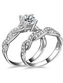 baratos Moda Íntima Exótica para Homens-Mulheres Zircônia cúbica Anéis de Casal / Anel de noivado - Prata Chapeada Amor 6 / 7 / 8 Prata Para Casamento / Festa / Noivado