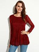 hesapli Tişört-Kadın's Polyester Dantel, Solid Büyük Bedenler Gömlek