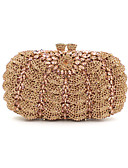 abordables Sombreros de  Moda-Mujer Bolsos Metal Bolso de Noche Cristal / Cristal Negro / Dorado / Oro Rosa / Bolsos de noche de cristal de diamantes de imitación