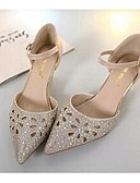 baratos Vestidos Baile Formatura-Mulheres Sapatos Microfibra Conforto Sandálias Dourado / Prata