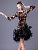 preiswerte Kleidung für Lateinamerikanischen Tanz-Latein-Tanz Kleider Damen Leistung Kristall-Baumwolle / Organza Rüschen / Farbaufsatz 3/4 Ärmel Hoch Kleid